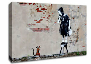 Scared Of The Mouse Banksy 03297 Canvas Print Wall Art