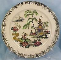 Antique Tomain Black Transferware Plate Colorful Polychrome Pottery 1880s