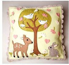 Woodland Deer Rabbit Bird Handmade Felt Cushion New Baby Gift Childs Room