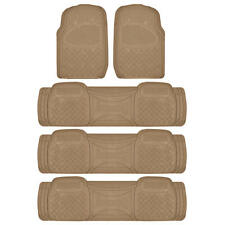 All Weather Beige 4 Row Car Floor Mat - Liner Rubber Heavy Duty Protection 5-PC