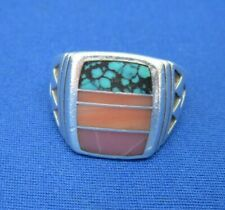 VINTAGE NATIVE AMERICAN ZUNI RING SILVER TURQUOISE CORAL MULTI INLAY 11.8 g.