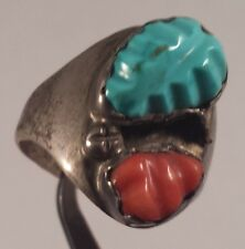 Coral Turquoise Ring Size 9.75 Loyolita Tsattie Zuni Indian Sterling Silver