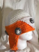 HAND MADE Volkswagen VW BUS Knit Hat Sherpa Ear Flap orange white Gray Adult