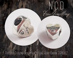 NC Designs Authentic Pandora Sterling Silver Nan's Love Heart Charm 797031CZ