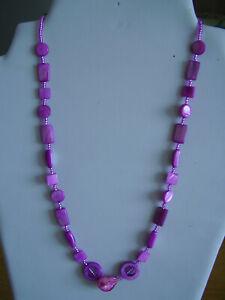 Kette Perlmutt perlen pink rosa strand muschel formmix natur bunt °U. 54 cm °H10