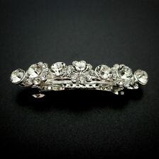 """Small 2-1/8"""" Silver Rhinestone Flowers Crystal Barrette Wedding Thin Hair Clip"""