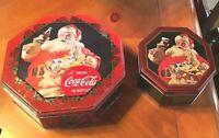 Two COCA COLA SANTA CLAUS Christmas Metal Tins in unique hexagon shape, COKE