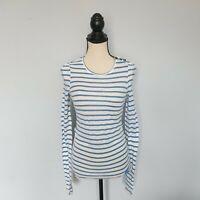 Damen  BURBERRY BRIT  Blau Langarm Top Shirt  Blouse Leinen & Baumwolle Gr. XS