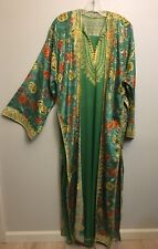 Gown Dress Duster Caftan Indian Inspired Embroidered Green Gold Lounge L