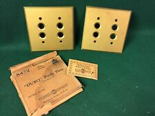 VINTAGE H&H TWO GANG DOUBLE PUSH BUTTON SWITCH PLATES
