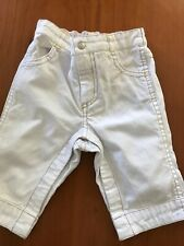 Jacadi White Cotton Jeans Brown Top Stitching - 3 Months