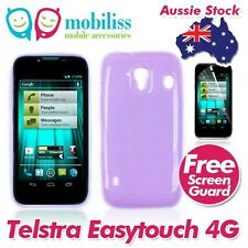 2XTelstra EasyTouch 4G T82 Purple Soft TPU Gel Jelly Case Cover+Screen Protector