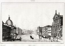 VENEZIA: CANAL GRANDE. Regno Lombardo-Veneto.Venice. ACCIAIO. Stampa Antica.1838