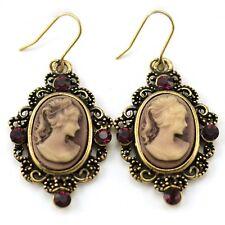 Antique Gold Brass Violet Purple Cameo Dangle Earrings Oval Lady Women Jewelry 1