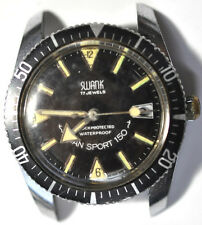 W696# SWANK DIVER GRAND SPORT 150 DATE WRIST WATCH  17 JEWELS FOR PARTS/REPAIRS