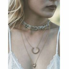 Antique Bronze Crescent Moon Charm Layered Necklace Minimalist Choker UK