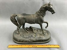 Antique White Metal Spelter FRANCE Horse Statue Clock Topper