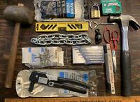 Vintage Tool Lot Pop Rivet Lufkin Ruler Sears Hammer Sand Block Precision Screw