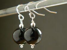 Large Black Onyx Gemstones & 925 Sterling Silver Drop Elegant Handmade Earrings