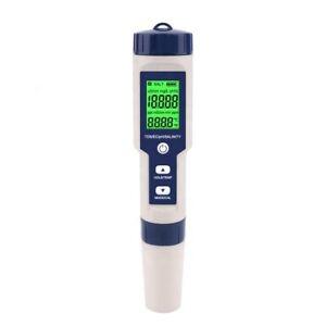 5 in 1 Digital waterproof Water Tester PH TDS EC SALINITY TEMP Meter - UK Stock