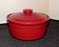 Vintage Stoneware Pottery Serving Dish Bowl With Lid