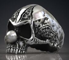 Unique Evil Clown Skull Head Mens Biker Ring In oxidized 925 Sterling silver