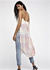 NEW Free People ivory pink Tie Dye Chiffon Semi Sheer Midi Maxi Tunic Top S
