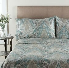 Aqua Paisley Sheet Set King Size 100 % Cotton 4 Piece Deep Pocket 300 TC