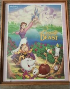"""Vintage Beauty And The Beast Walt Disney 20""""x16"""" Movie Poster - 1991. Frame Incl"""