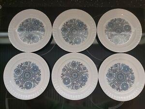 6 Pontesa Mid Century Side Plates Blue & White 'The Castillian Collection' Spain