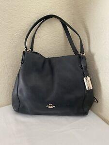 Coach Edie Black Pebbled Leather Hobo Shoulder Tote Shopper Handbag 36464