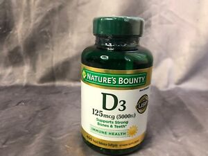 Nature's Bounty Vitamin D3 125mcg 5000 IU Bone Teeth Immune 400 Dietary Softgels