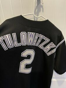 Men's Troy Tulowitzki 2 Majestic Sewn Black Colorado Rockies Baseball Jersey XL