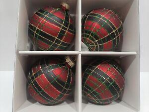 "Martha Stewart Plaid Tartan Red Black Glitter Glass 3"" Christmas Ornaments S/4"