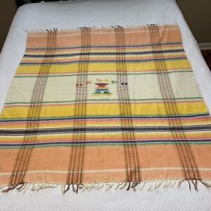 """Wall Home Decor throw 48X51"""" fringe mexico plaid light weight hand made vintage?"""