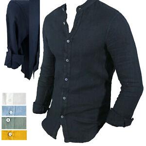 Camicia Uomo in Lino Manica Lunga Collo alla Coreana Slim Fit S M L XL XXL 3X 4X