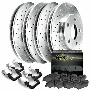 Fit 1991-1996 Toyota Previa Front Rear Hart Drilled Brake Rotors+Ceramic Pads