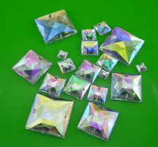 steeple faceted square Ab Acrylic Crystal flat back sew Rhinestone applique