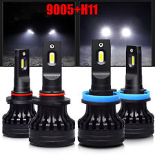 2 Pair Combo T1 72W 9005+H11 8200LM LED Car Headlight High/Low Beam Lamps White