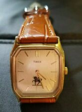 Vintage Timex Battery Operated Watch Gold Tone.New Leather Band & Battery.Works