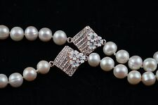 Baroque 33 inches long 8-9 mm White Pearl Necklace with Double Ornaments