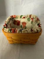 1999 Longaberger Medium Berry Basket Combo Fruit Fabric Liner Plastic Protector