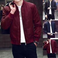 Men's Warm Jacket Trench Coat Overcoat Outwear Slim Fit Long Sleeve Zipper CE