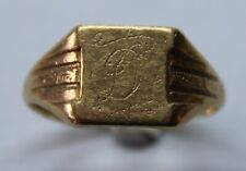VINTAGE 9CT YELLOW GOLD SIGNET RING SIZE S