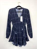 Finders Keepers Womens Dress Navy Blue Dress Long Sleeve Ruffle Size S