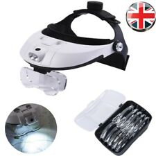 Headband Head-Mounted 2 LED Lamp Lights Jeweler Magnifier Magnifying Glass Loupe