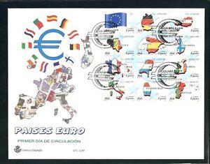 FDC AÑO 1999 PAÍSES DEL EURO EDIFIL 3632-3643 MP 63 EN SOBRE PRIMER DÍA