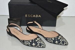 NEW ESCADA Slingback AS977 Black Flats Ankle Strap Fabric Leather Shoes 40