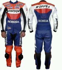 Men's in pelle moto Replica Honda Repsol Tuta per moto