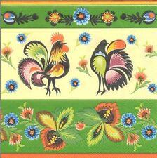 2 Serviettes en papier Coq Poule Crème Vert Paper Napkins Rooster